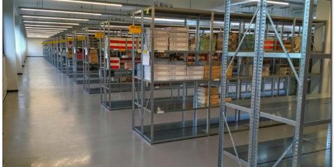 Lagerreoler på CFU's lager på Kanalholmen