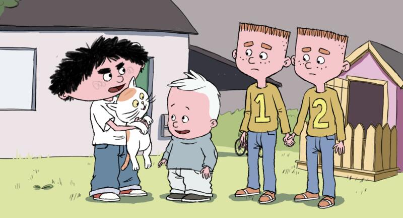 Vitello stå med en kat og tre af sine venner