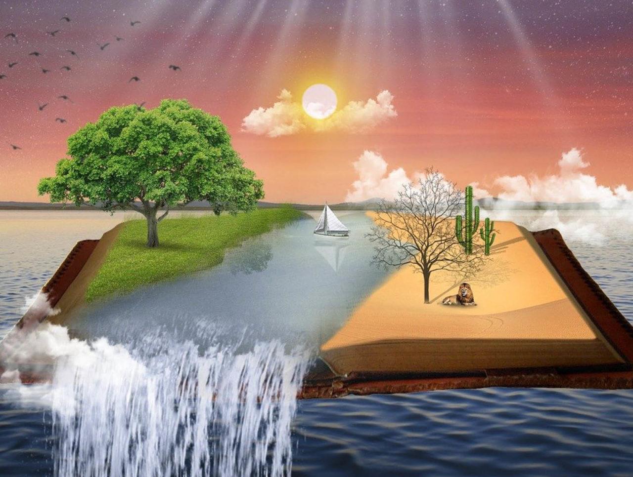 Åben bog hvor der kommer vand ud