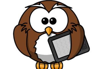 Billede af ugle med tablet