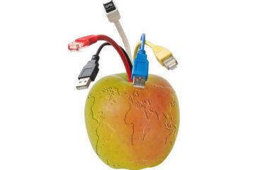 Billede af æble som jordklode med farvede ledninger som stilk